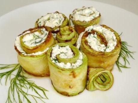 рулеты из кабачков с сыром